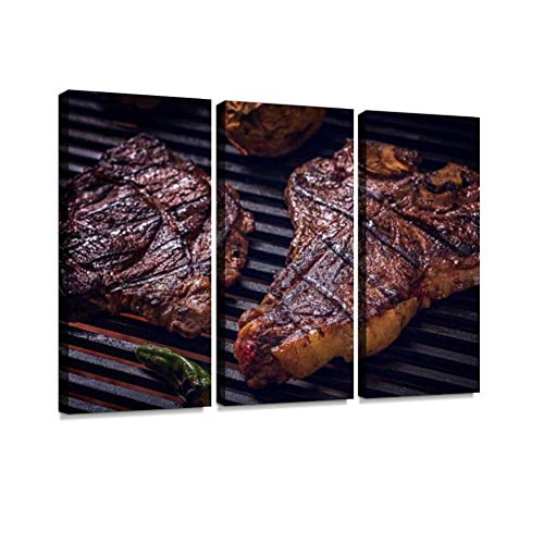 HABEN ARTWORK ribeye and t Bone Steak on BBQ Grill Flaming fire Charcoal Print On Canvas Wall Artwork Modern Photography Home Decor Unique Pattern Stretched and Framed 3 Piece