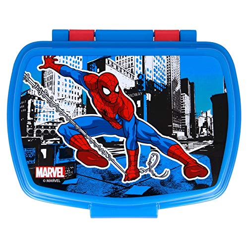 ILS I LOVE SHOPPING Contenitore Termico Porta merenda Scatola Sandwich Box per Bambini (Spiderman Streets)