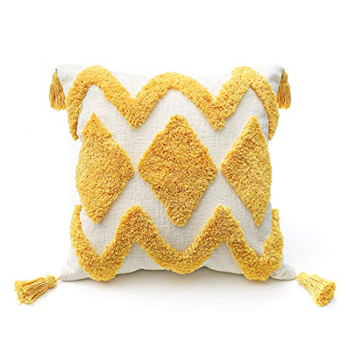PLWORLD Yellow Throw Pillow Cover 18x18 Inch, Boho Decorative Moroccan Tufted Thick Soft Cream Chenille Textured Accent Pillowcase with Tassels for Couch Bed Living Room, 1 PC