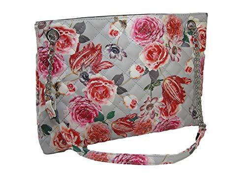 New Nine West Logo Purse Satchel Hand Bag Spring Summer Floral Dielle Gray Multi