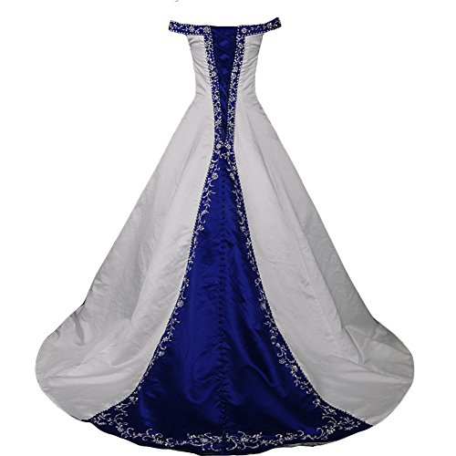 Kivary White and Royal Blue Off Shoulder A Line Beaded Bridal Embroidery Wedding Dresses US 16