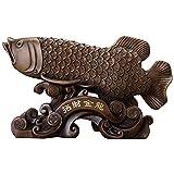 Lucky Gold Dragon Fish Estatua Artesanía De Resina Decoración Feng Shui, para Sala De Estar Oficina De Decoración Empresa Hotel Regalos De Apertura Artesanía De Inauguración De La Casa, Marrón
