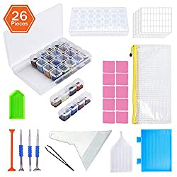 diamond painting accessory kit with trays, wax, pens, storage containers and storage bag