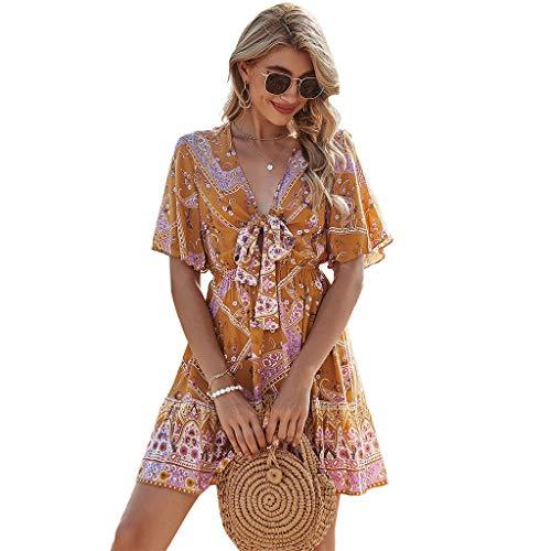 Oyrcvweuy Vestido de verano para mujer, diseño floral, cintura alta, con lazo frontal, cuello en V, informal, para mujer