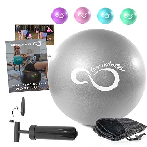 Live Infinitely Professional Grade 9 Inch Anti-Burst Mini Pilates Ball for Home Exercise, Balance Training, Yoga & Barre Workout –Includes Hand Pump, Needle Valve & Mesh Carrying Bag (Silver)
