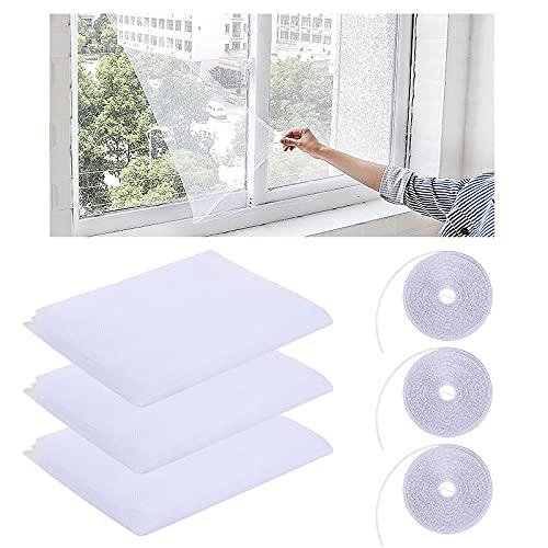 Moustiquaire Fenetre, 3 Pcs Fenêtre Filet Écran Insecte, Fenêtre Moustiquaire Filet Bricolage avec 3 rouleaux de ruban adhésif, pour FenêTres ou Porte - Blanc Transparent (1.5 * 2M Moustiquaires)