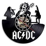 NUOVO!AC DC Rock and Roll Band Musica Vinyl Record Orologio da parete Modern Silent Grande decorativo a batteria Art Home Decor-2018 Hot Cool regalo per la musica Lover Singer Natale e fidanzata