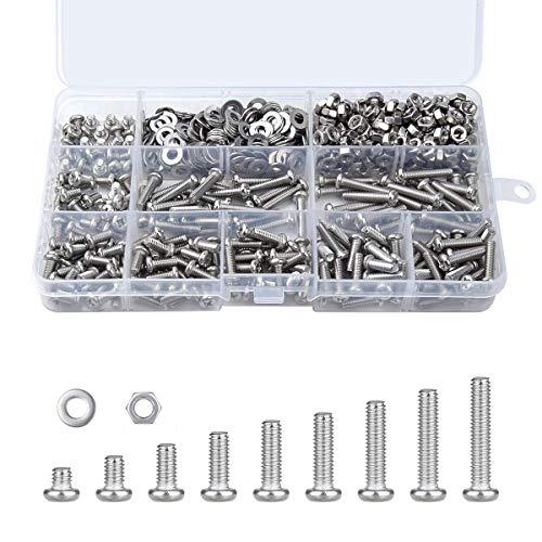 Loscrew M4 Schrauben, Flachkopfschrauben, 765 Stück, Edelstahl, Muttern, flache Unterlegscheiben, Maschinenschrauben-Set