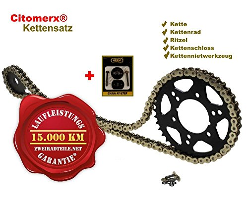 Kettensatz 15 42 für Suzuki GSF 1200 S Bandit 1995-2005 GV75A X- Ring verstärkt Gold + Kettennietwerkzeug