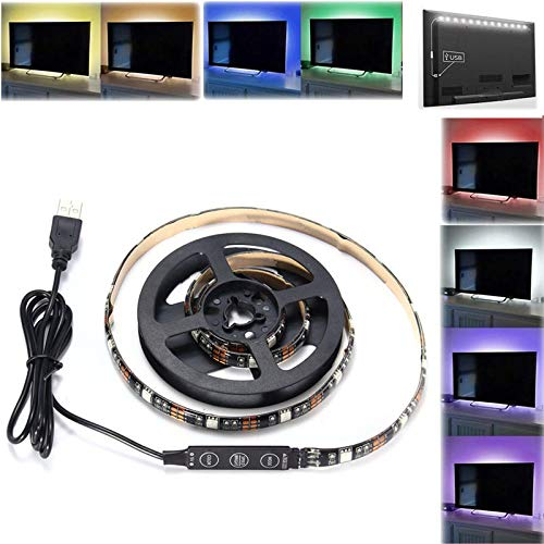 RENCALO 90CM USB Cuerda de Cinta RGB SMD5050 27 LED Luz de Tira Flexible de la PC TV del Fondo de la lámpara de iluminación DC 5V