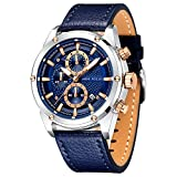 Mens Watch Business Casual Wrist Watches (Multifunction/Waterproof/Luminous/Calendar) Leather Strap Fashion Watch for Men (Blue)