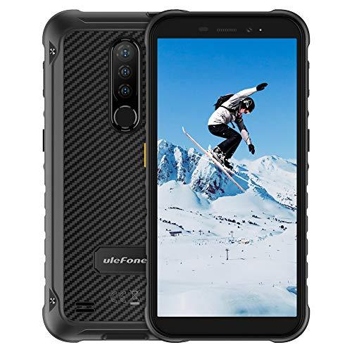 Outdoor Smartphones ohne Vertrag 5,7-Zoll, Ulefone Armor X8 4G Handys, IP68/IP69K, 4+64GB Speicher, Octa-Core, 13MP Hauptkamera mit 2 * 2MP Subkameras, 8MP Frontkamera, 5080mAh Batterie-Schwarz