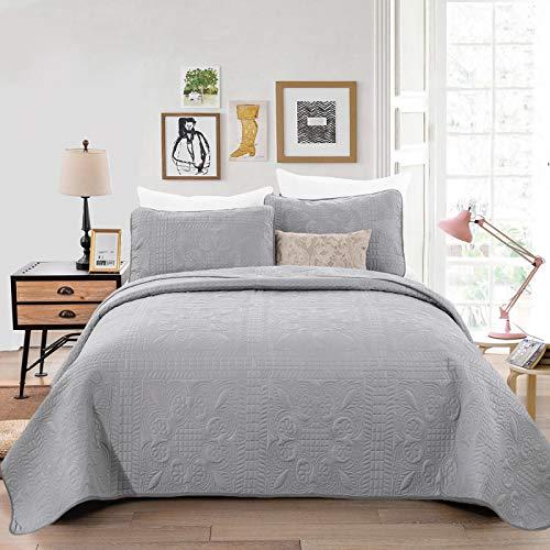 WONGS BEDDING Tagesdecke 240x260 cm Grau Bettüberwurf Steppdecke Wohndecke Bettdecke Stepp Decke aus Mikrofaser gesteppt Tagesdecken Betthusse für Bett