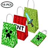 15 PCS Party Gift Bags for Minecraft Party Supplies, Birthday Party Gift Goody Treat Candy Bags for Pixel Party Supplies, Including 3 Patterns for Kids Birthday Party Decorations