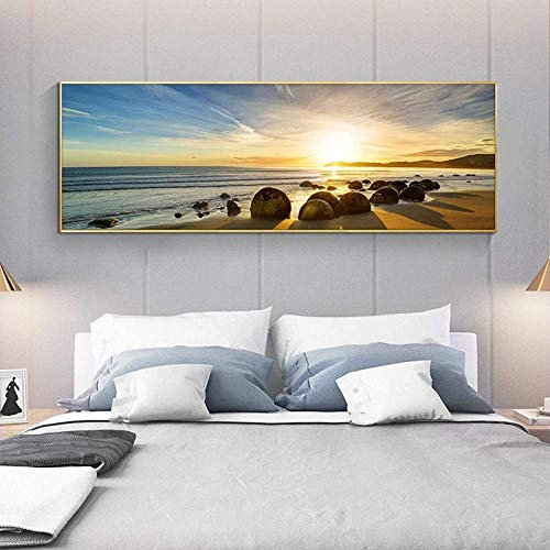 poster Natural Blue Sky Stone Beach Sunset Paisaje Posters e impresiones Lienzo Pintura Cuadro de arte de pared para sala de estar 40x60cm (Sin marco)