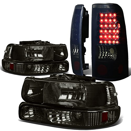Replacement for Chevy Silverado GMT800 4pc Pair of Smoked Lens Amber Corner Headlight + Black Smoked Lens LED Tail Light