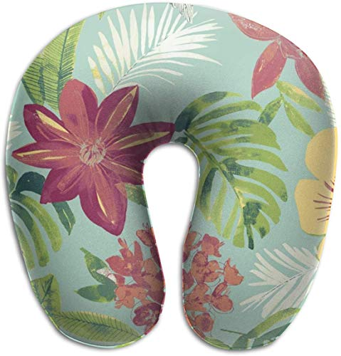 tyui7 Patrón de Mimbre de Plantas Tropicales Almohada en Forma de U Almohada de Cuello de Espuma de Memoria para Viajar y aliviar el Dolor de Cuello Almohadas cómodas de Cuello uterino