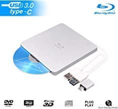 External 3D Blu Ray DVD Drive Burner, USB 3.0 and Type-C Slot-in Optical Portable BD CD DVD RW ROM Drive Writer Player Reader Burner Ultra-Slim Compatible with Windows XP/7/8/10, MacOS, Linux