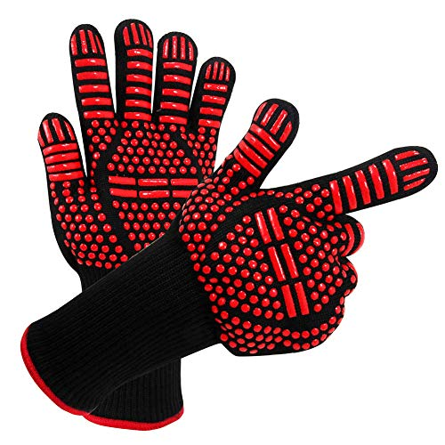 RXRENXIA Grill Gloves,1472°F Extreme Heat Resistant Handschuhe-Home/Kitchen/Outdoor Hand Protection Five Fingers Grill Microwave Oven Mitts zum Kochen, Grillen, Backen, Barbecue