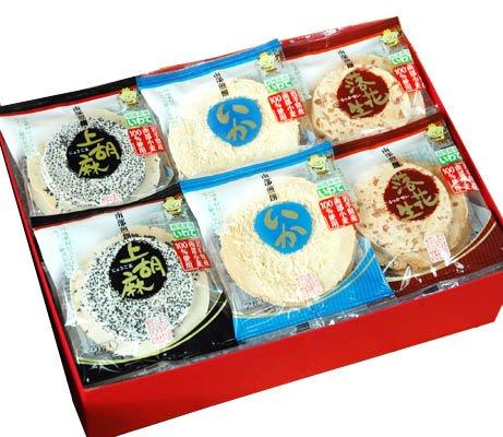 南部煎餅 ごま・落花生・イカ 48枚 ギフト箱入り (ムギおに3種詰め合せ) 志賀煎餅 (1箱)