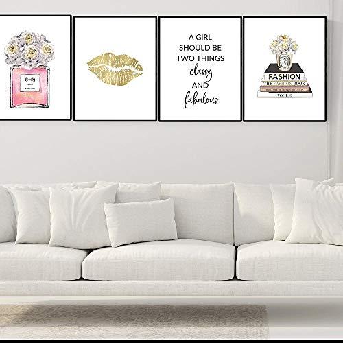 ZLARGEW Moda Labbra d'oro Fiore Rosa Profumo Libro Arte della Parete Pittura su Tela Poster e Stampe Immagini a Parete per Soggiorno Decorazioni per la casa - 30x40cmx6 Senza Cornice