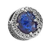 chicbuy Navidad azul deslumbrante copo de nieve DIY se adapta para perlas de Pandora pulseras 925plata encanto moda joyería