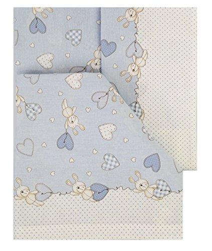 Sabanas 100% algodón italiano cuna 60x120 (juego de 3 piezas: bajera+encimera+funda almohada). Modelo bari. Azul