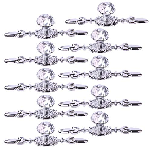 """Fvstar 10pcs 4.7"""" Crystal Cabinet Knobs Drawer Dresser Handles Diamond Glass Pulls with Plate and Screws,Cupboard Wardrobe Furniture Door Hardware for Living Room Kitchen Bedroom (Small, Silver)"""
