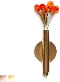 Wall-Mounted Flower Tube for Flower Display, Wall Metal Vase Decoration Holder(Adhesive Material Included) (Gold)