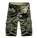 WSLCN Homme Rétro Baggy Cargo Camo Shorts Outdoor Casual Combat Shorts Coton Pantacourt Camo Vert FR 30W (Asie 31W)