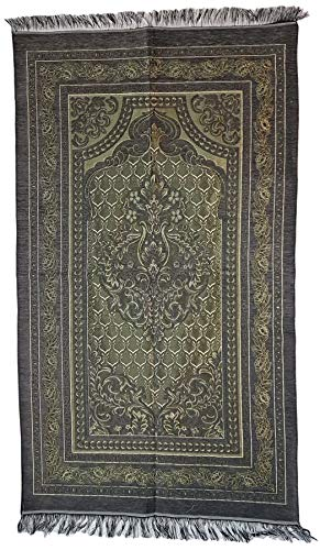 Ilkadim Alfombra de oración turca 115 x 68 cm Seccade Namazlik Sajada Sedschade (gris verde)