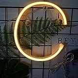 Neon Buchstaben Zeichen Nacht lichter LED Alphabet Neon Art Lichter Lampe Wand Dekor Batteriebetrieben und USB Powered für Hochzeit Geburtstag Hochzeit Bar Schlafzimmer Indoor Decor (C)