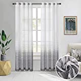 LinTimes Gradual Change Sheer Curtains For Living Room 132X183cm Long Striped Voile Window Curtains Eyelet Bedroom Window Treatment, Black and White, 2 Panels