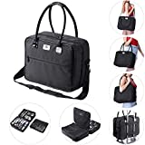 Byootique Soft Sided Makeup Train Case 2 Layer Cosmetic Tote Artist Organizer Storage Carry on Travel Bag with Removable Strap