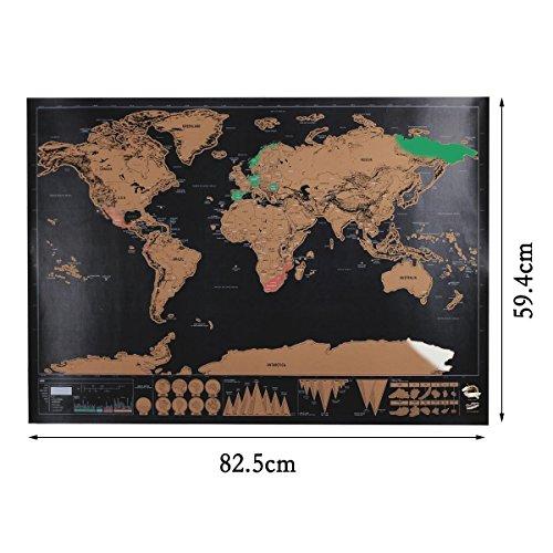 Map scratch, Migini Scratch il Mondo personalizzata in formato da viaggio, Carta, Multicolor(82.5 x 59.5 cm)