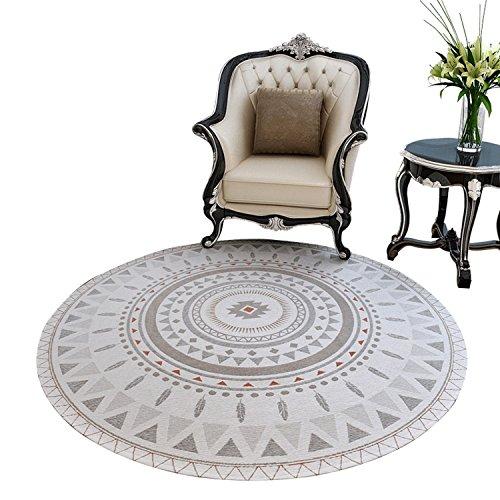 DEI QI Runde Teppich Studie Teppich Make-up Hocker Teppich Wohnzimmer Hängesessel Teppich nordischen Stil (Farbe : Holiday impression beige, Size : 120*120cm)