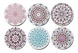 Palooza - Premium Design Mandala Untersetzer (6er Set) – Dekorative Getränkeuntersetzer für Glas, Tassen, Vasen, Kerzen auf ihrem Esstisch aus Holz, Glas oder Stein (rund | 9cm) (Mandala Set)