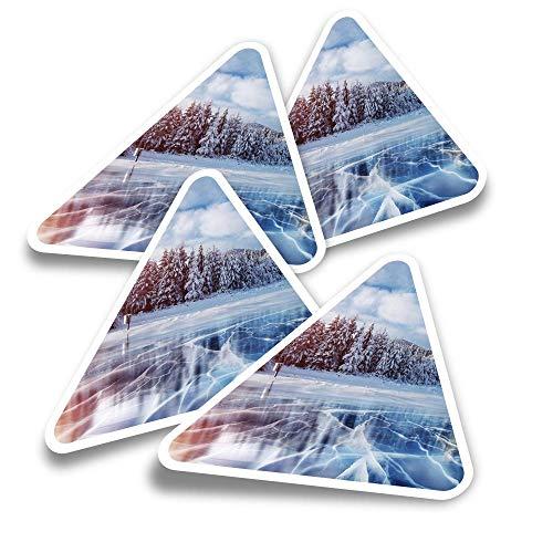 Pegatinas triangulares de vinilo (juego de 4) - Invierno nieve congelada lago hielo divertidos calcomanías para portátiles, tabletas, equipaje, reserva de chatarra, nevera #8122