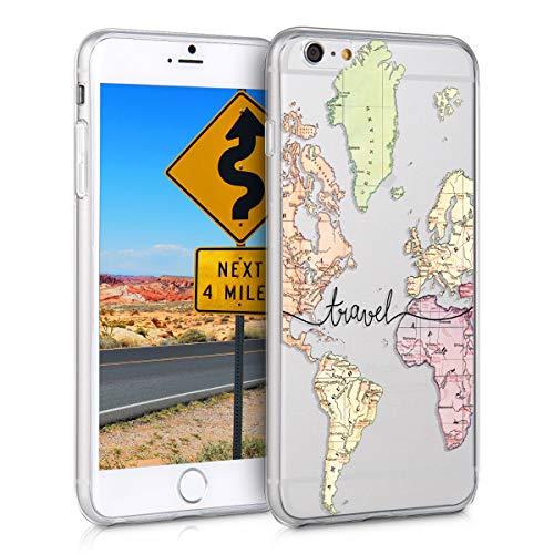 kwmobile Funda Compatible con Apple iPhone 6 Plus / 6S Plus - Carcasa de TPU y Mapa Mundial en Negro/Multicolor/Transparente