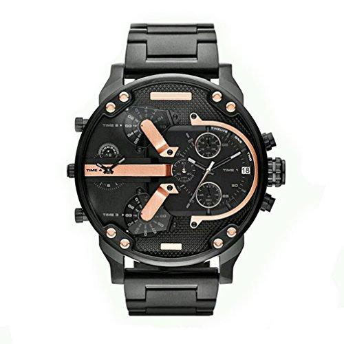 Fenkoo Männer Uhrquarz wasserdichte Sport-Uhr-Kalender echtem Edelstahl Armbanduhr montre reloj relogio (Schwarz)