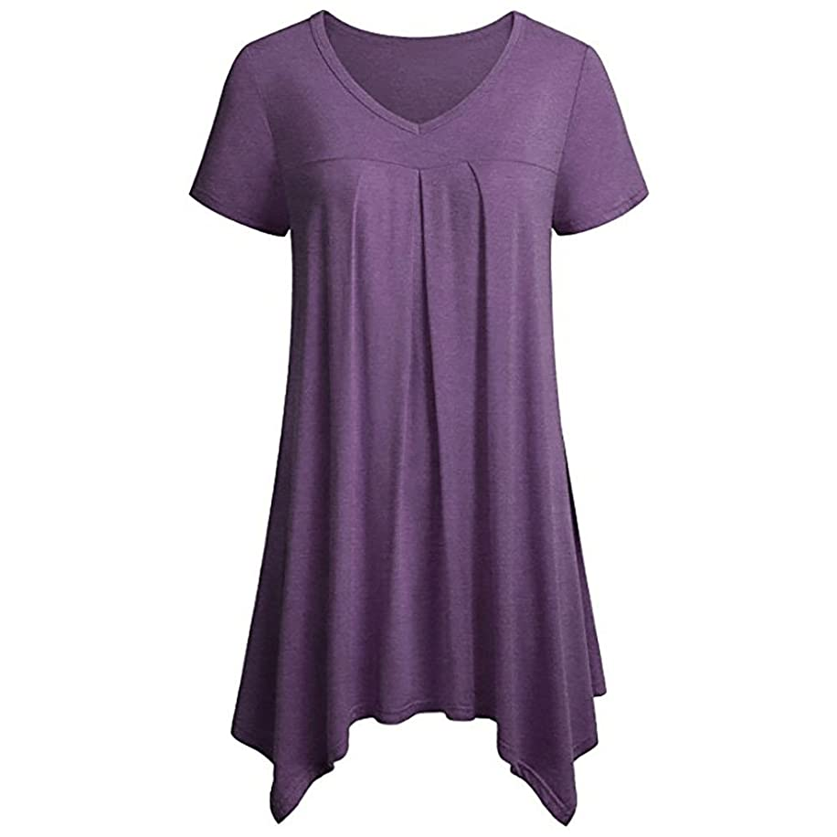 Womens Summer Tops,Short Sleeve Solid Color Shirts Irregular Hem Asymmetrical Blouses Loose Fit Tunic Tops