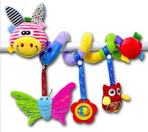 Q.J.Ashley Baby Crib Toy Plush Bed Winding Attach Activity Center Mobile Chew Play Safe Spiral Stroller Bed Hanging Car Seat Toys Lion Giraffe Elephant Frog Educational Best Night Toy