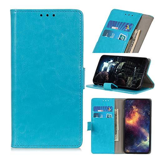 TOPOFU Handyhülle für UMIDIGI A3X Hülle, Premium PU Lederhülle Crystal Simple Style Schutzhülle mit Magnetisch und Kartenschlitz,Klapphülle Handytasche Flip Hülle Cover-Blau