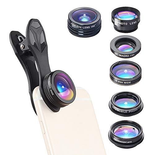Kit de lentes para celular 7 em 1 da Docooler, lente olho de peixe 198°, 0,36x, lente macro grande-angular CPL, caleidoscópio 2X, lentes telescópicas compatíveis com telefone