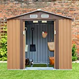 4.2' x 7' Backyard Garden Metal Warehouse Outdoor Storage Shed Rural Style for Utility Tool&Patio Furniture Storage,Gable Roof, Coffee