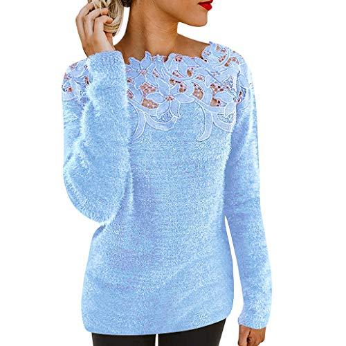 Yowablo Bluse Pullover Damen Kurzarm Tunika Rundkragen Flauschige Jersey mit Blumenmuster (S,Blau)