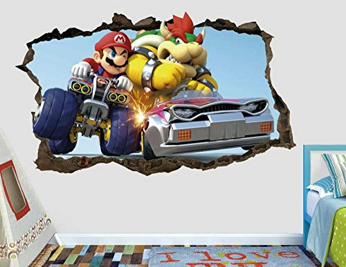 Pegatinas de pared Bowser battle wall decal custom smashed 3d game decal sticker vinilo