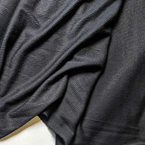 Black Stretch Ribbed Jersey Fabric by The Metre 120CM Width Black 4M