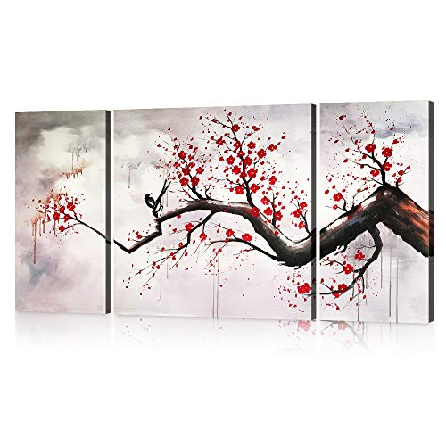 Modern Chinese Style Cherry Blossom The Plum Blossom Tree Wall Art Picture 3pcs Paintings on Canvas for Living Room Home Decor Framed Stretched Gallery Canvas Wrap Artwork