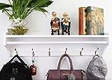 Perchero de pared ,Pared Perchero,Percha de madera maciza ,moderna multifuncional 6 ganchos estante de pared soporte de exhibición perchas Dormitorio & el Baño & la Decoración del Hogar ( 79.5CM)